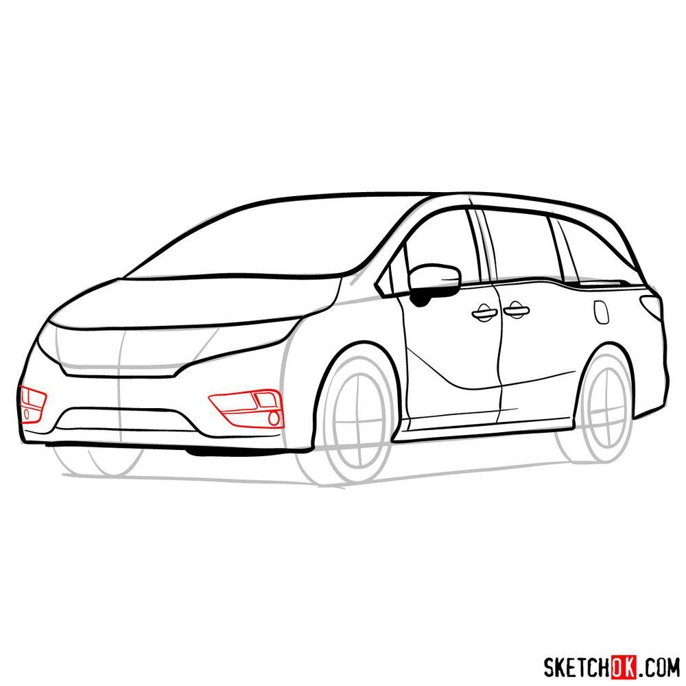 How to draw the 2020 Honda Odyssey Elite - step 12