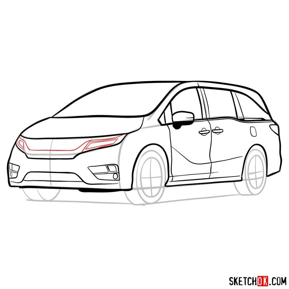How to draw the 2020 Honda Odyssey Elite - step 13