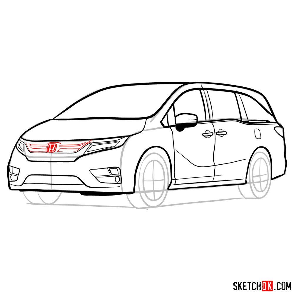 How to draw the 2020 Honda Odyssey Elite - step 14