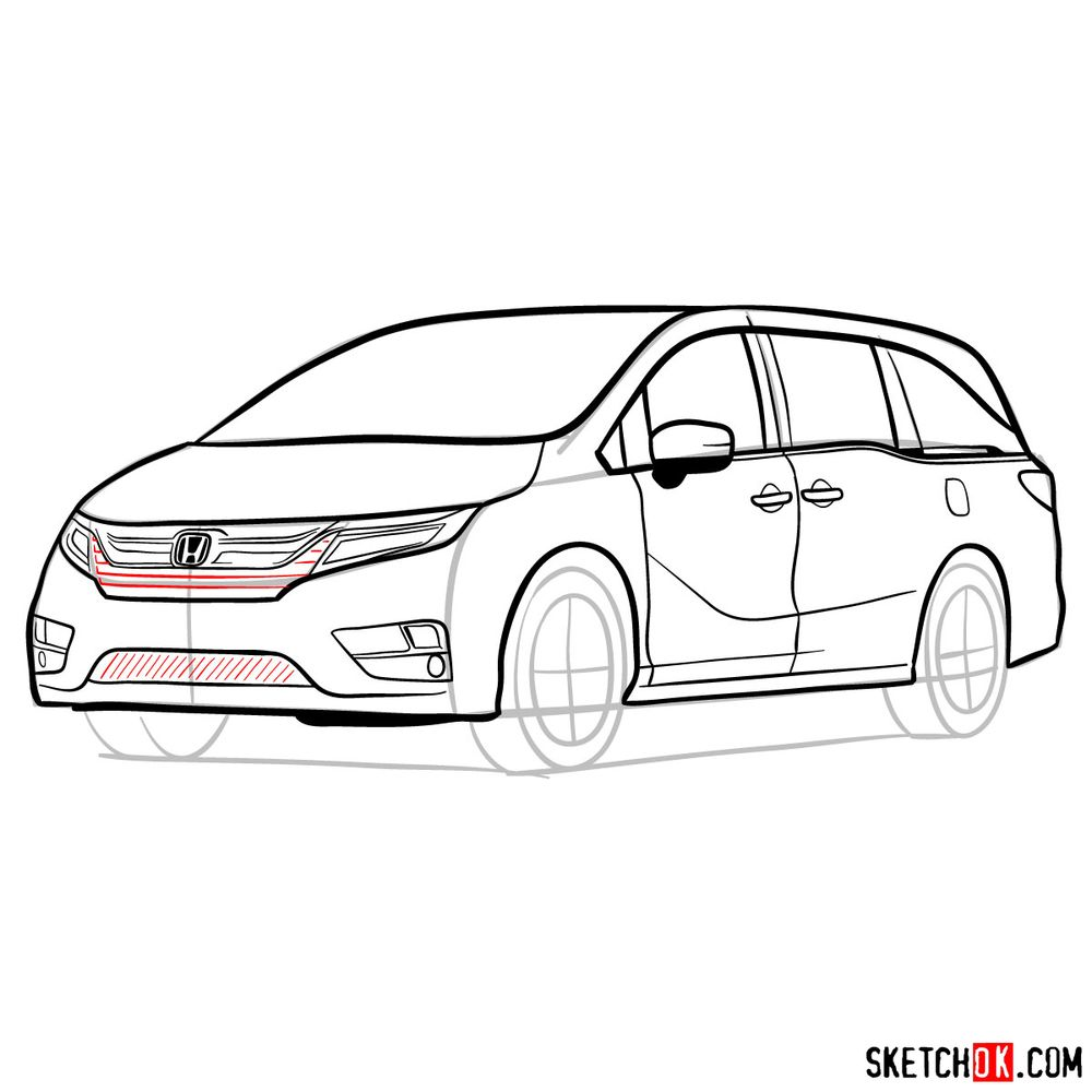 How to draw the 2020 Honda Odyssey Elite - step 15