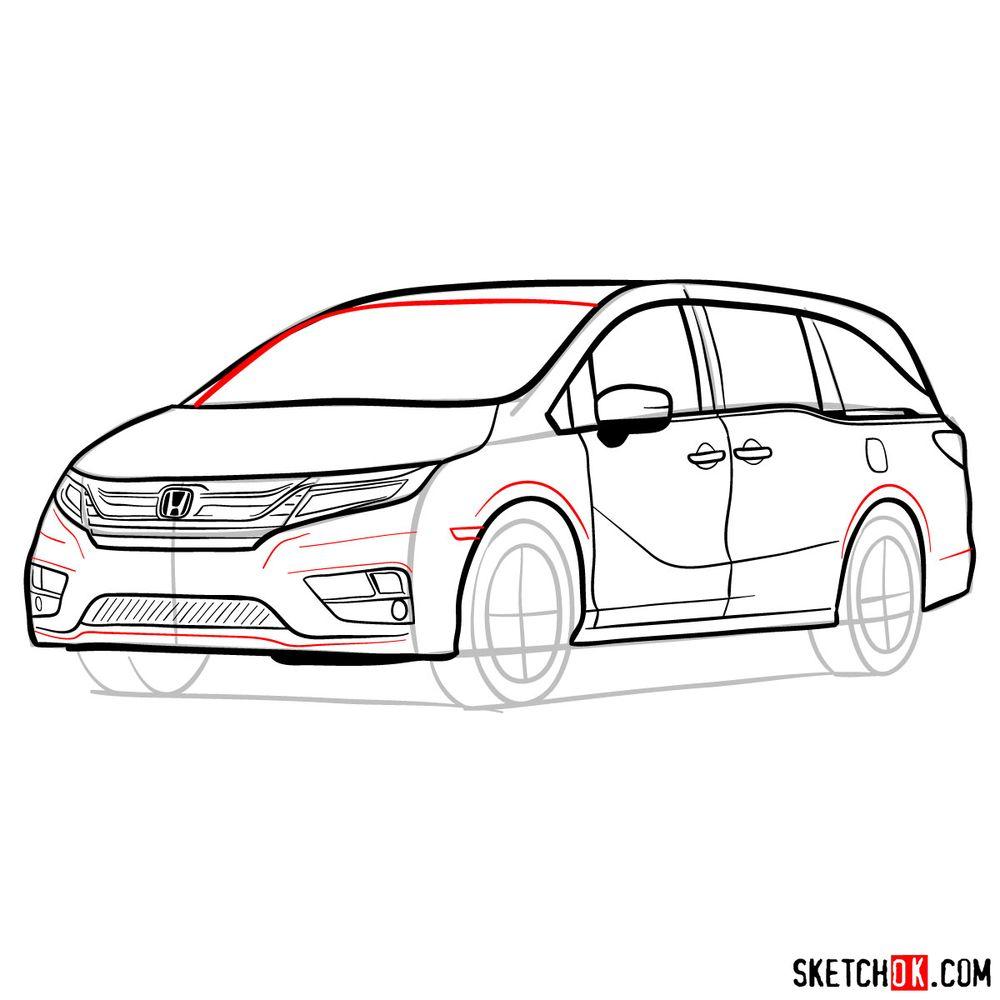 How to draw the 2020 Honda Odyssey Elite - step 16