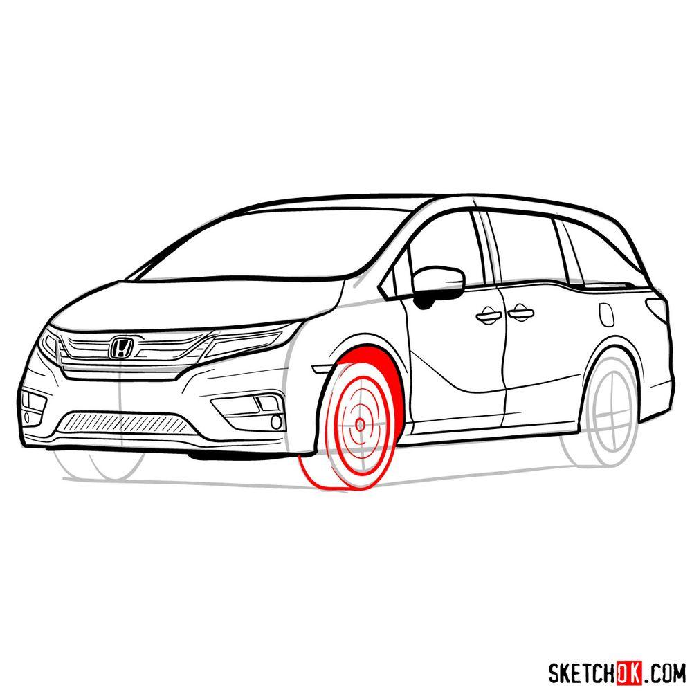 How to draw the 2020 Honda Odyssey Elite - step 17