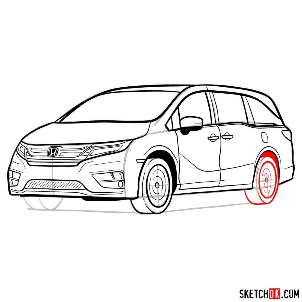 How to draw the 2020 Honda Odyssey Elite - step 18