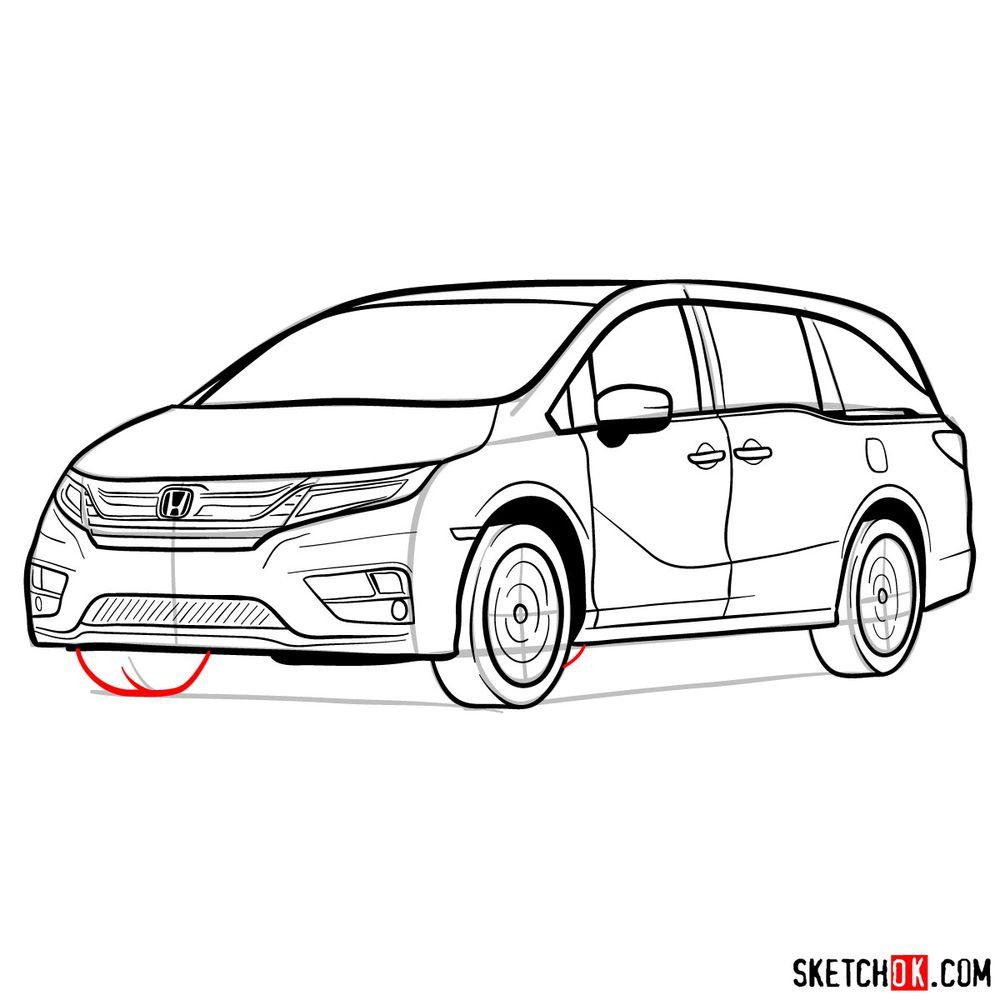 How to draw the 2020 Honda Odyssey Elite - step 19