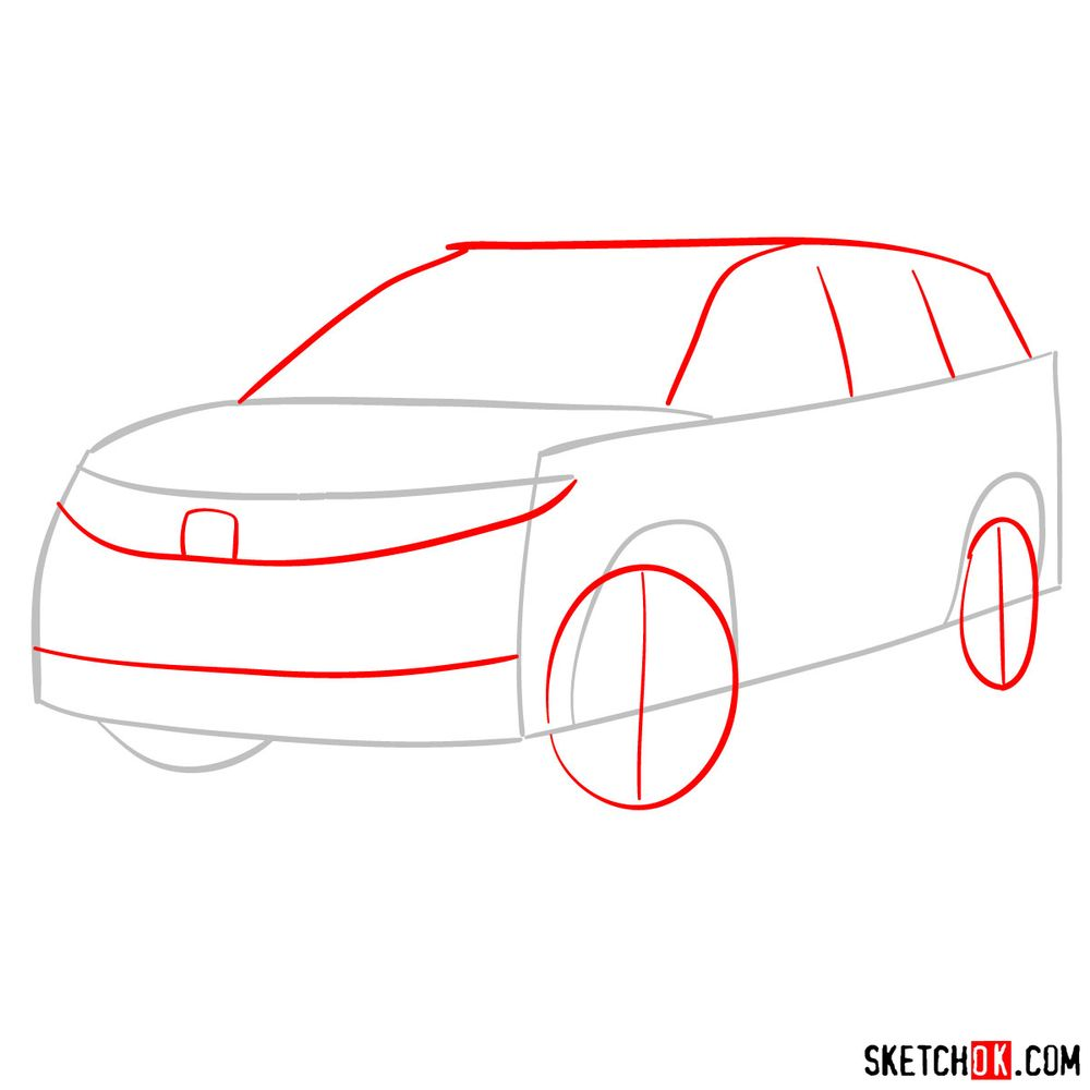 How to draw 2020 Honda Pilot  - step 02
