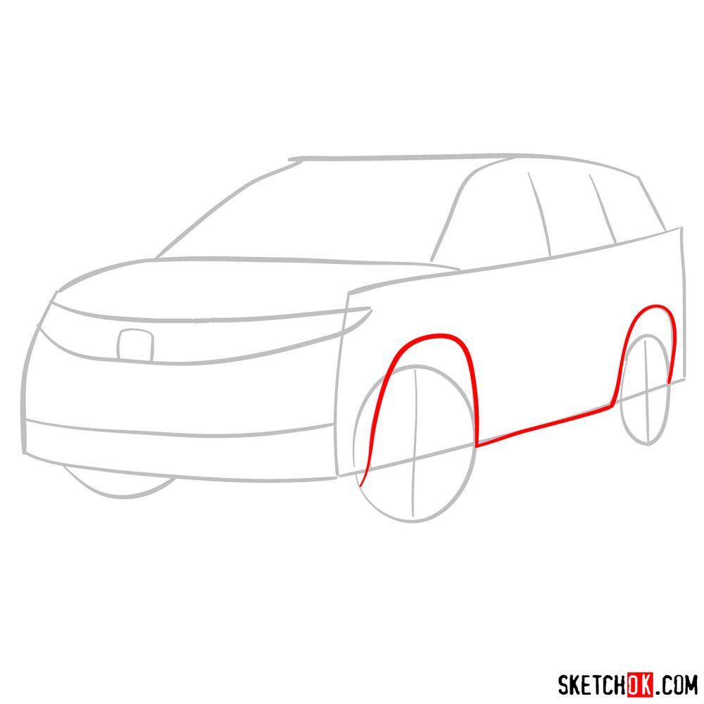 How to draw 2020 Honda Pilot  - step 03
