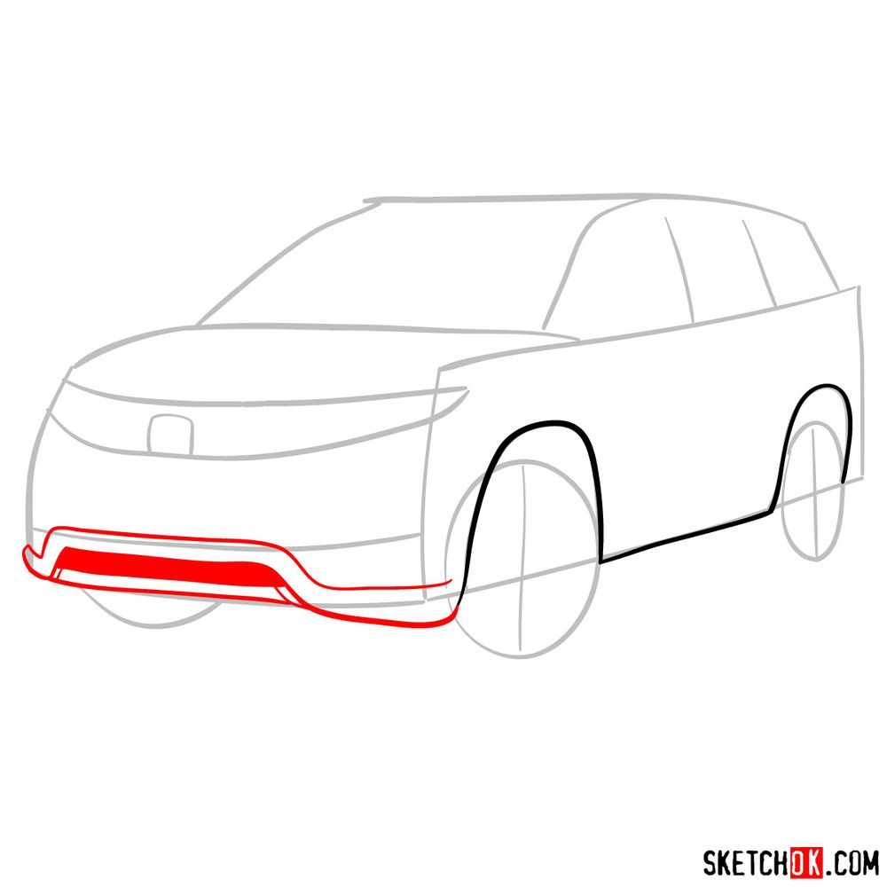 How to draw 2020 Honda Pilot  - step 04