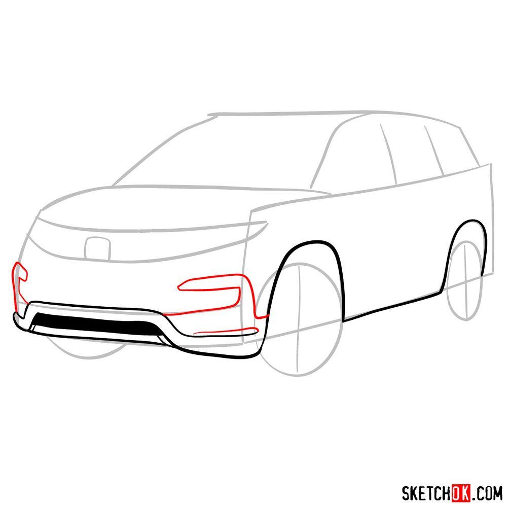 How to draw 2020 Honda Pilot  - step 05
