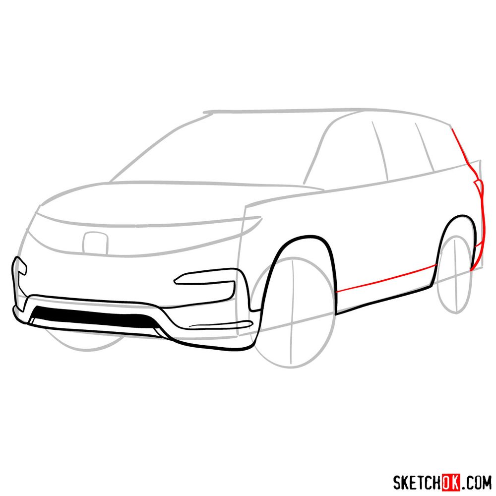 How to draw 2020 Honda Pilot  - step 06