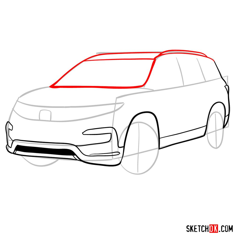 How to draw 2020 Honda Pilot  - step 07