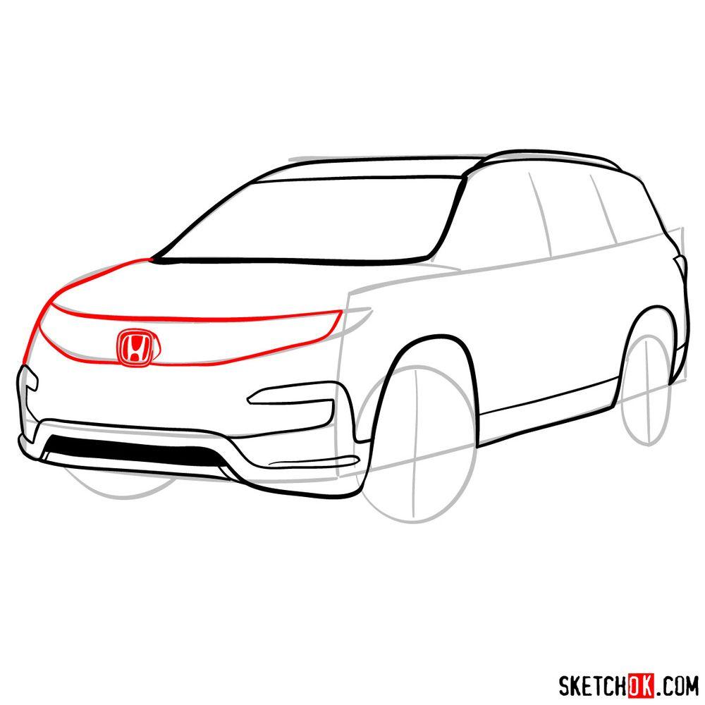 How to draw 2020 Honda Pilot  - step 08