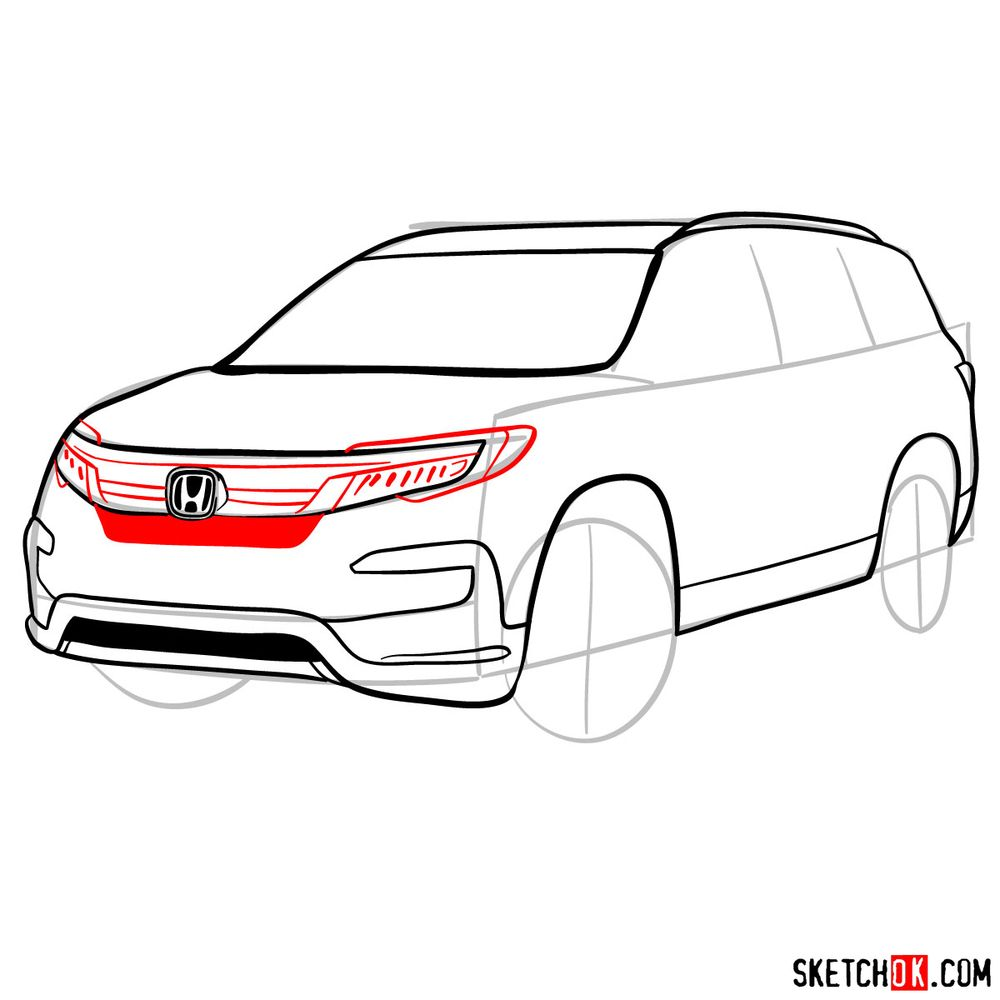 How to draw 2020 Honda Pilot  - step 09