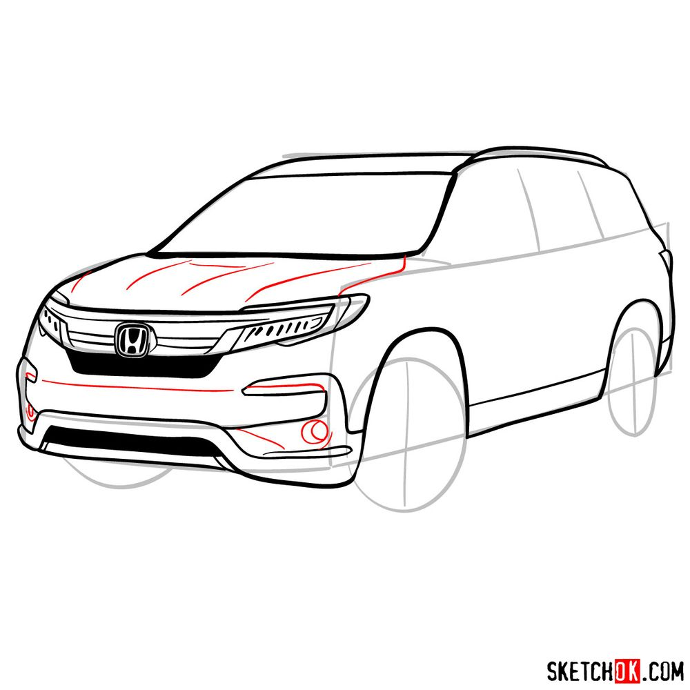 How to draw 2020 Honda Pilot  - step 10