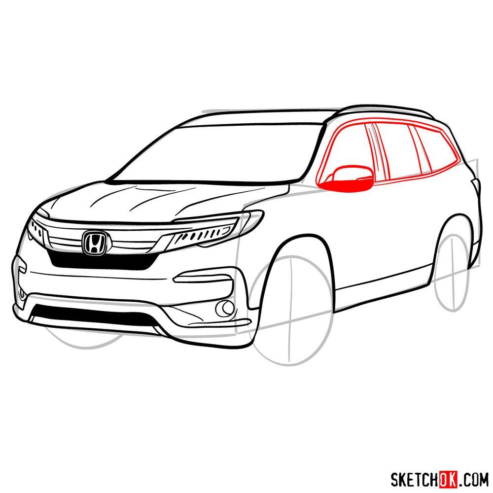 How to draw 2020 Honda Pilot  - step 11