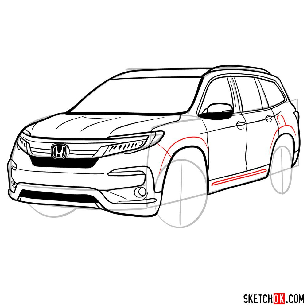 How to draw 2020 Honda Pilot  - step 13