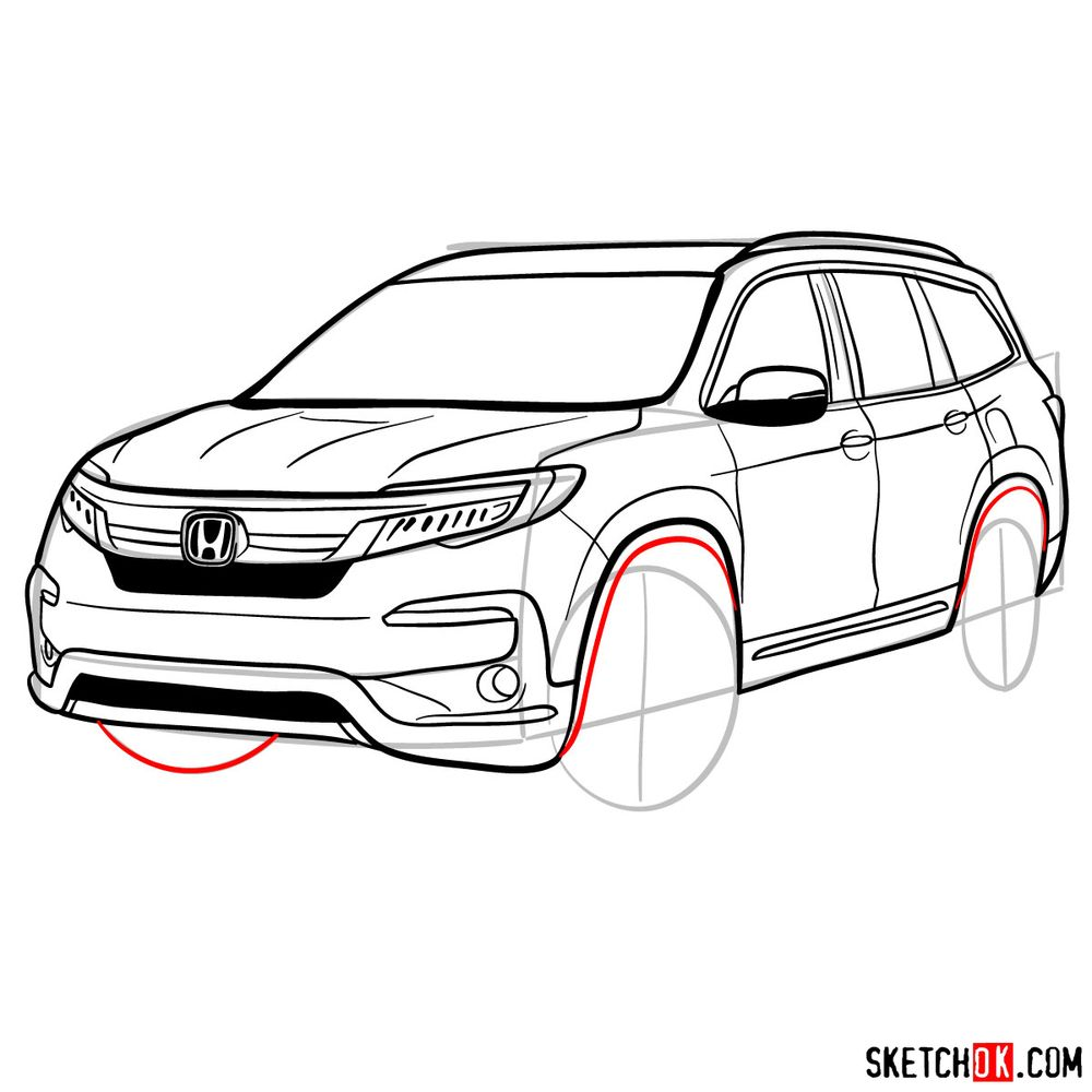 How to draw 2020 Honda Pilot  - step 14