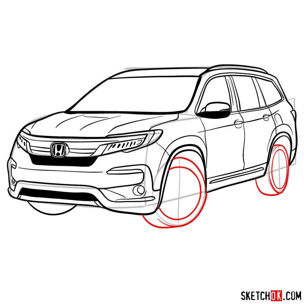 How to draw 2020 Honda Pilot  - step 15