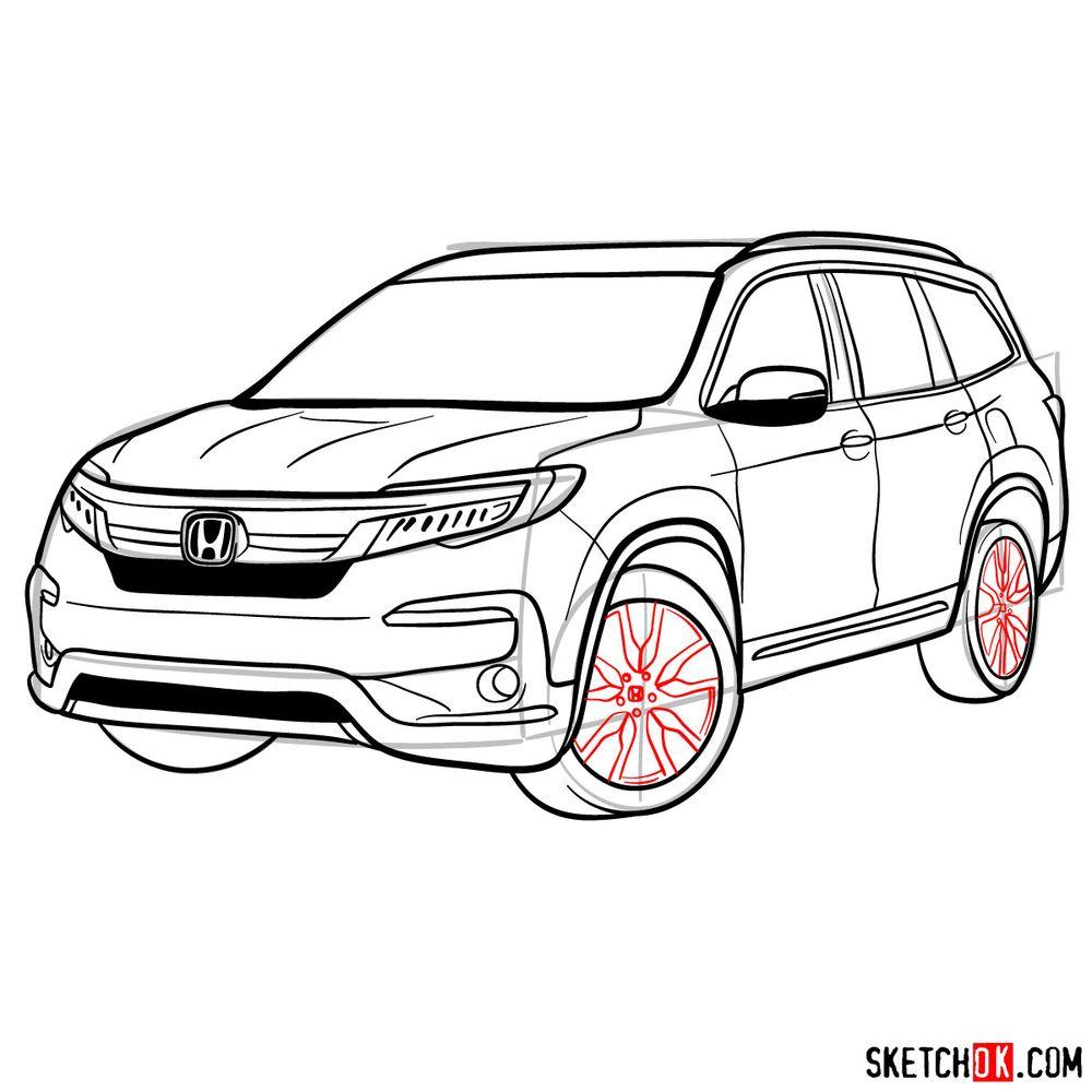 How to draw 2020 Honda Pilot  - step 16