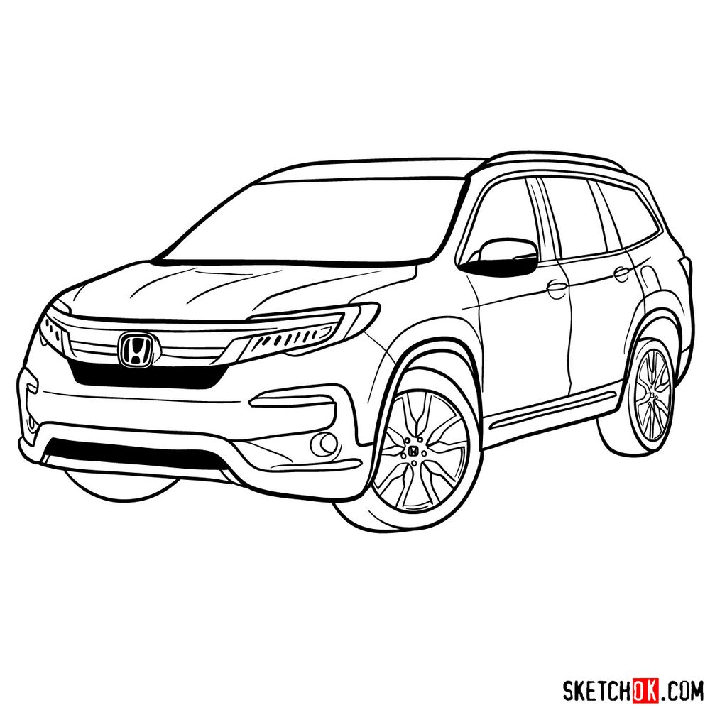 How to draw 2020 Honda Pilot
