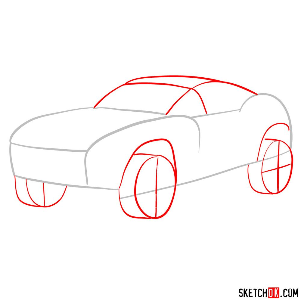 How to draw a Rally Fighter car - step 02