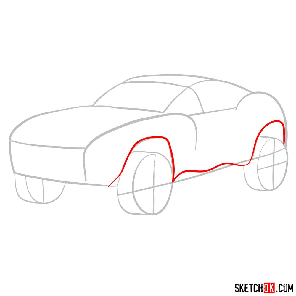 How to draw a Rally Fighter car - step 03