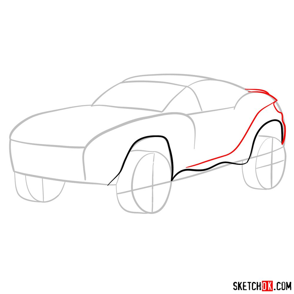 How to draw a Rally Fighter car - step 04