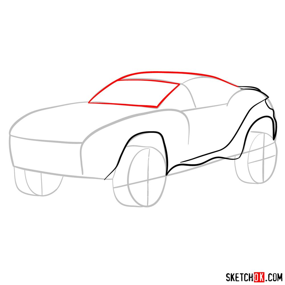 How to draw a Rally Fighter car - step 05