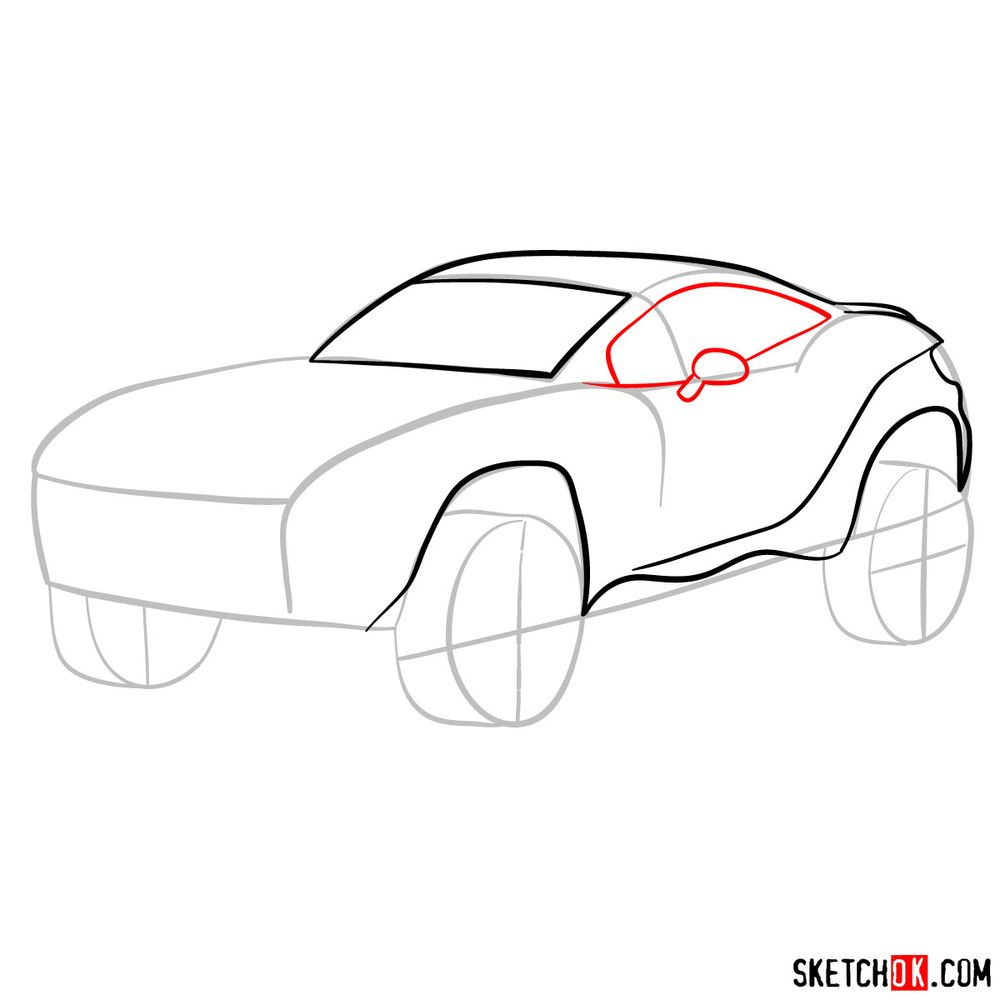 How to draw a Rally Fighter car - step 06