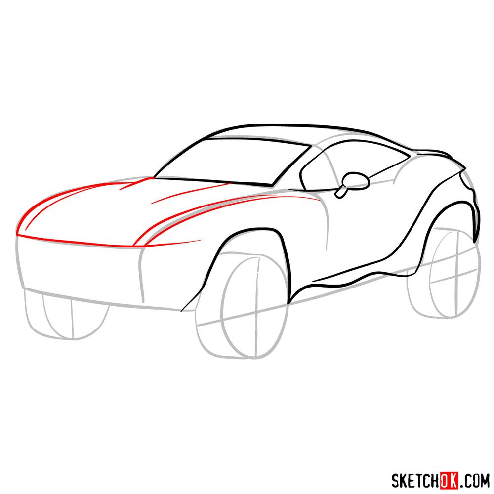 How to draw a Rally Fighter car - step 07