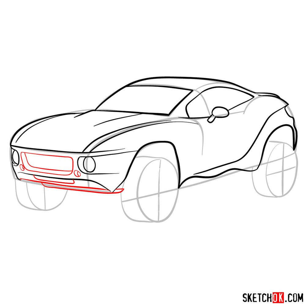 How to draw a Rally Fighter car - step 09