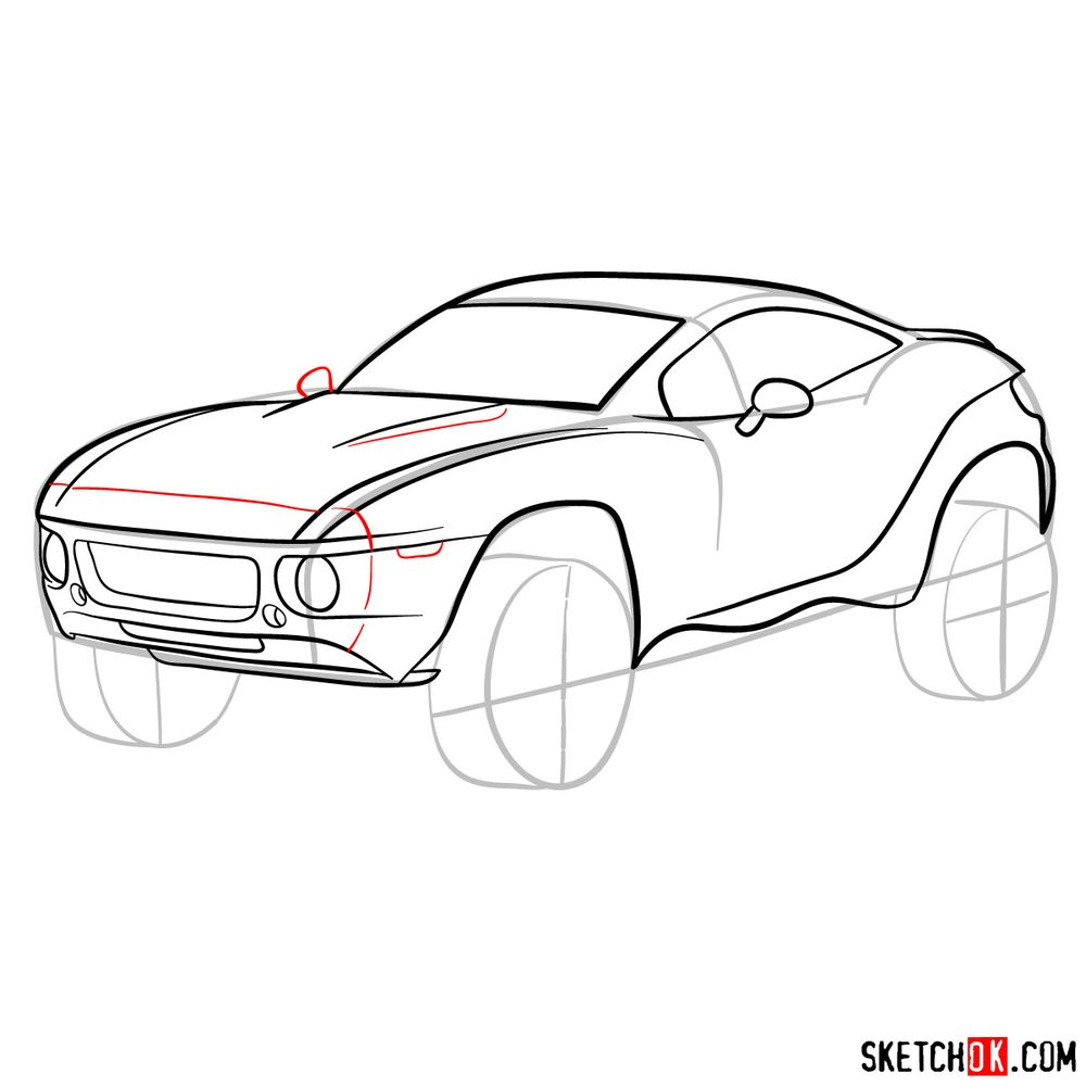 How to draw a Rally Fighter car - step 10