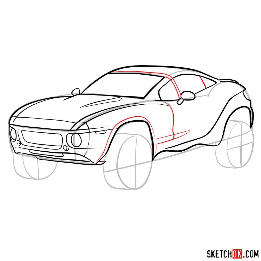 How to draw a Rally Fighter car - step 11
