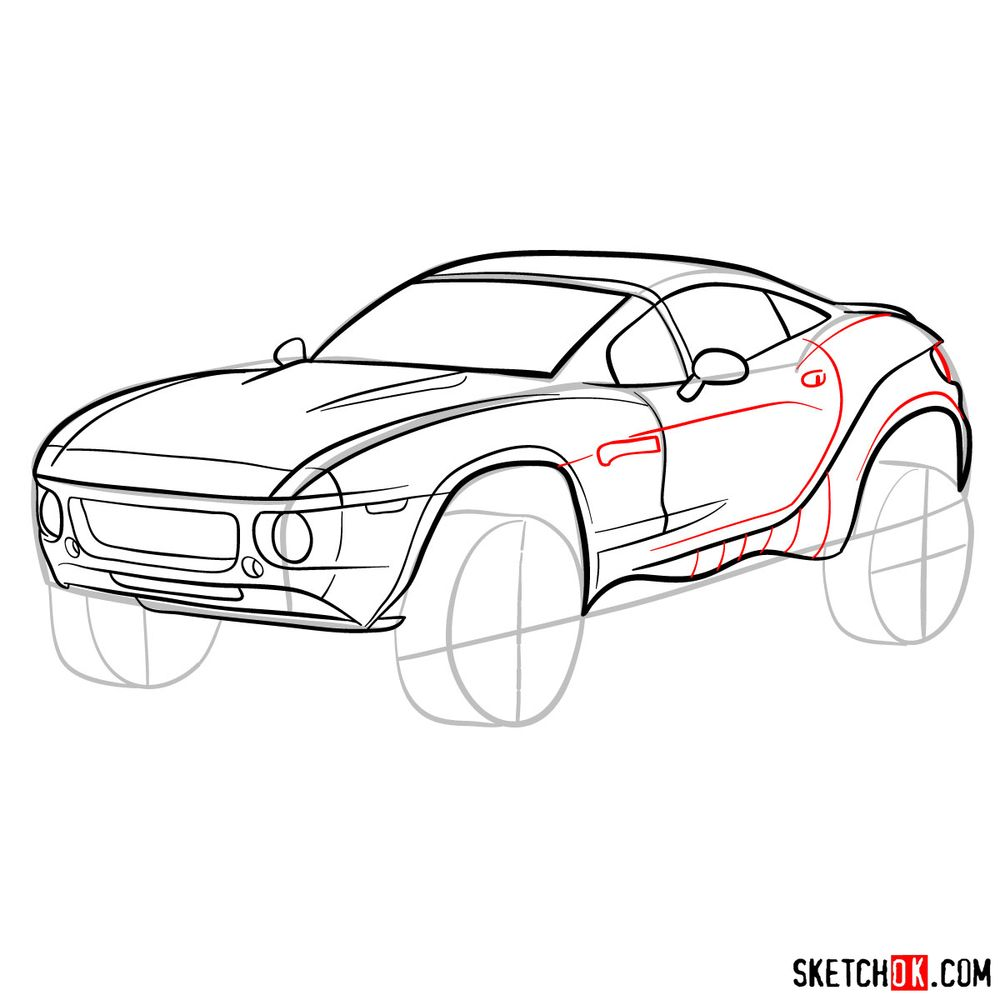 How to draw a Rally Fighter car - step 12