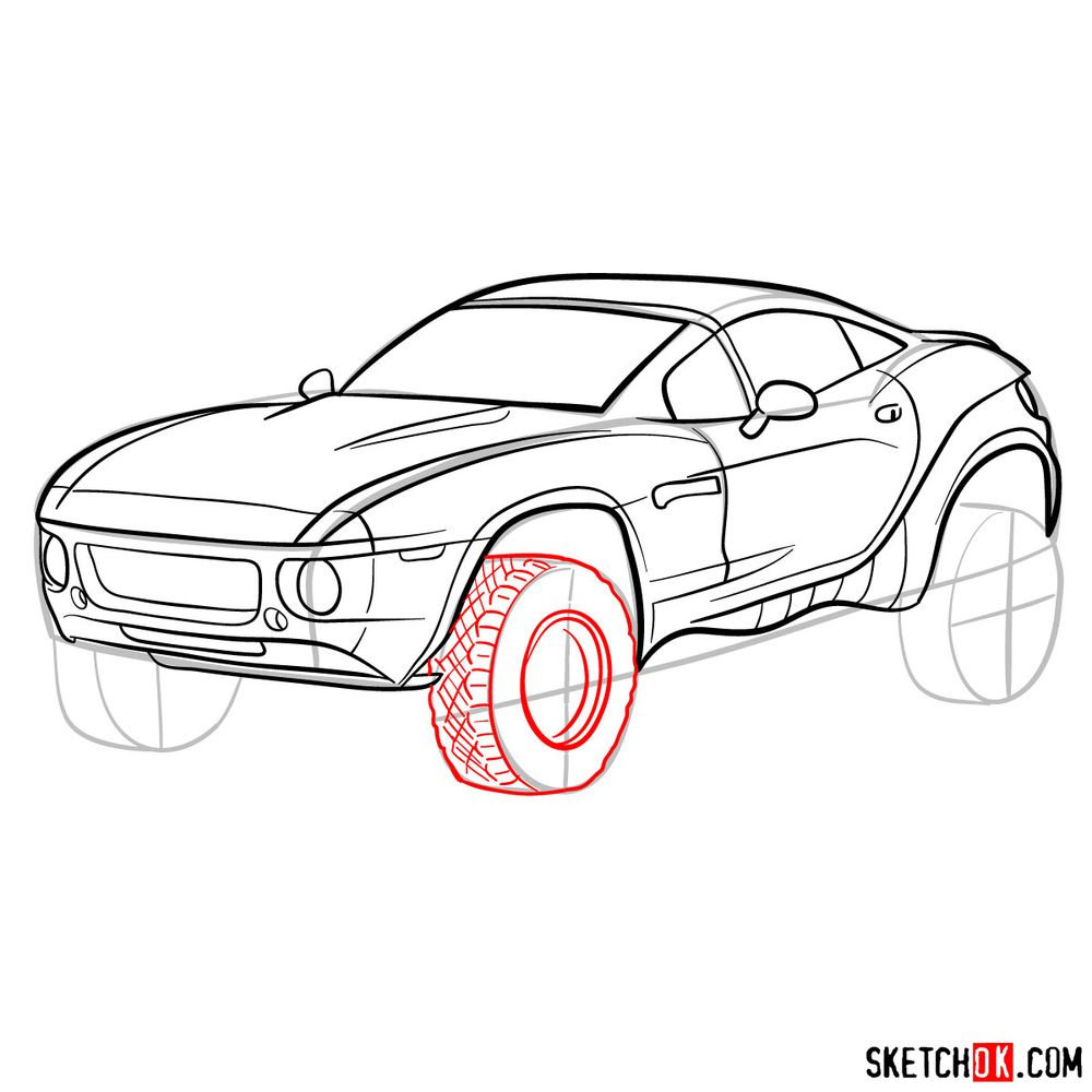 How to draw a Rally Fighter car - step 13