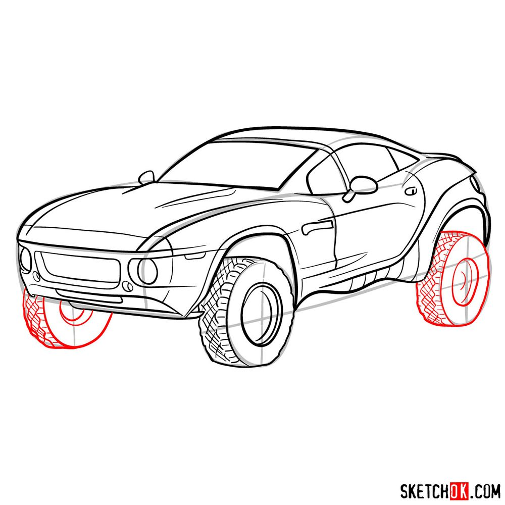 How to draw a Rally Fighter car - step 14