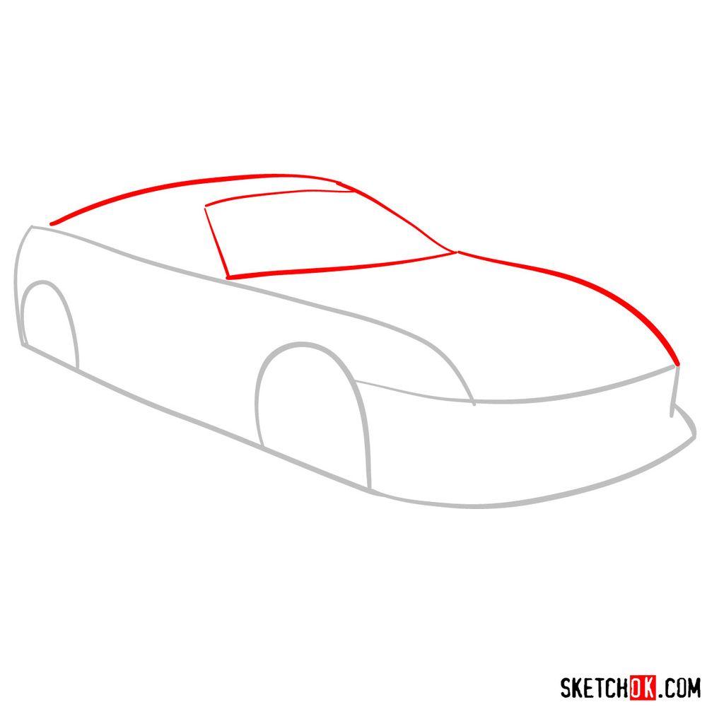 How to draw 1993 Toyota Supra - step 02