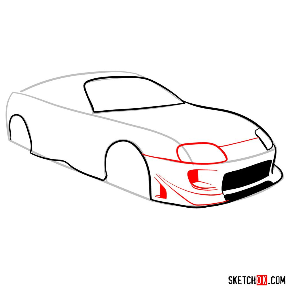 How to draw 1993 Toyota Supra - step 06