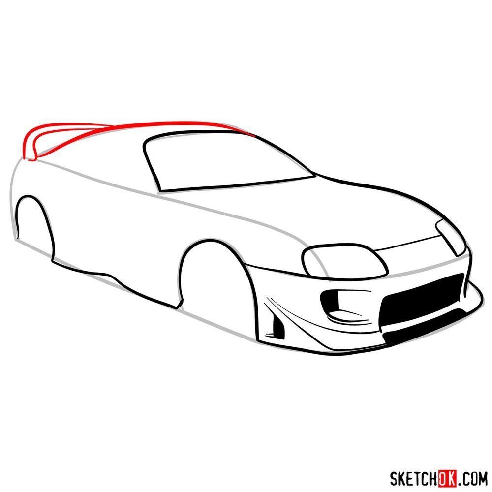 How to draw 1993 Toyota Supra - step 07