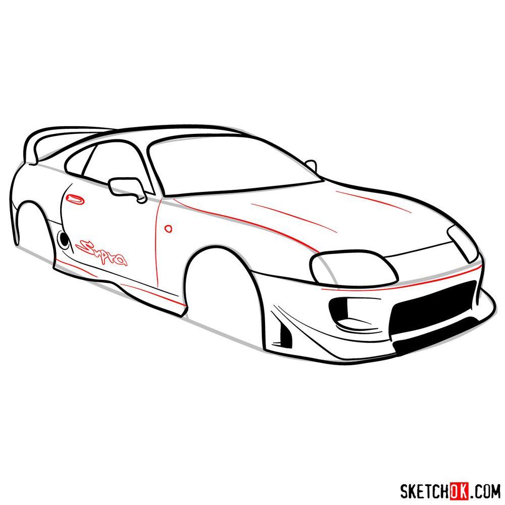 How to draw 1993 Toyota Supra - step 10