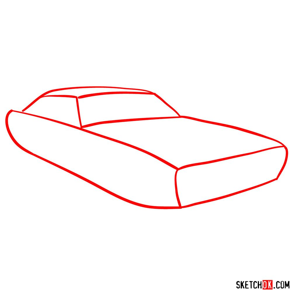How to draw Dodge Challenger 1971 - step 01