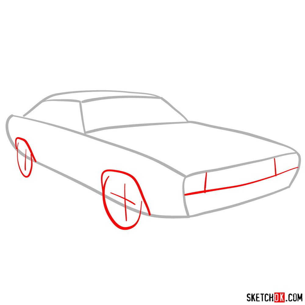 How to draw Dodge Challenger 1971 - step 02