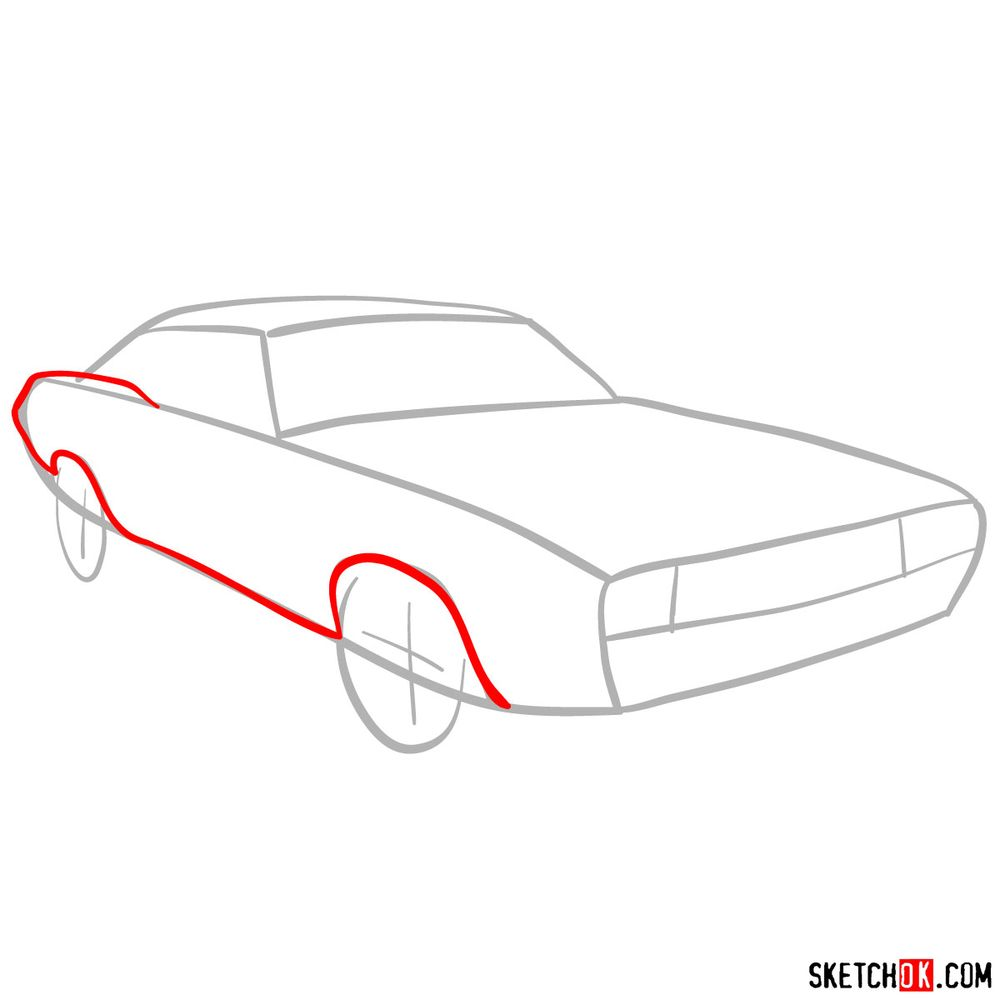 How to draw Dodge Challenger 1971 - step 03