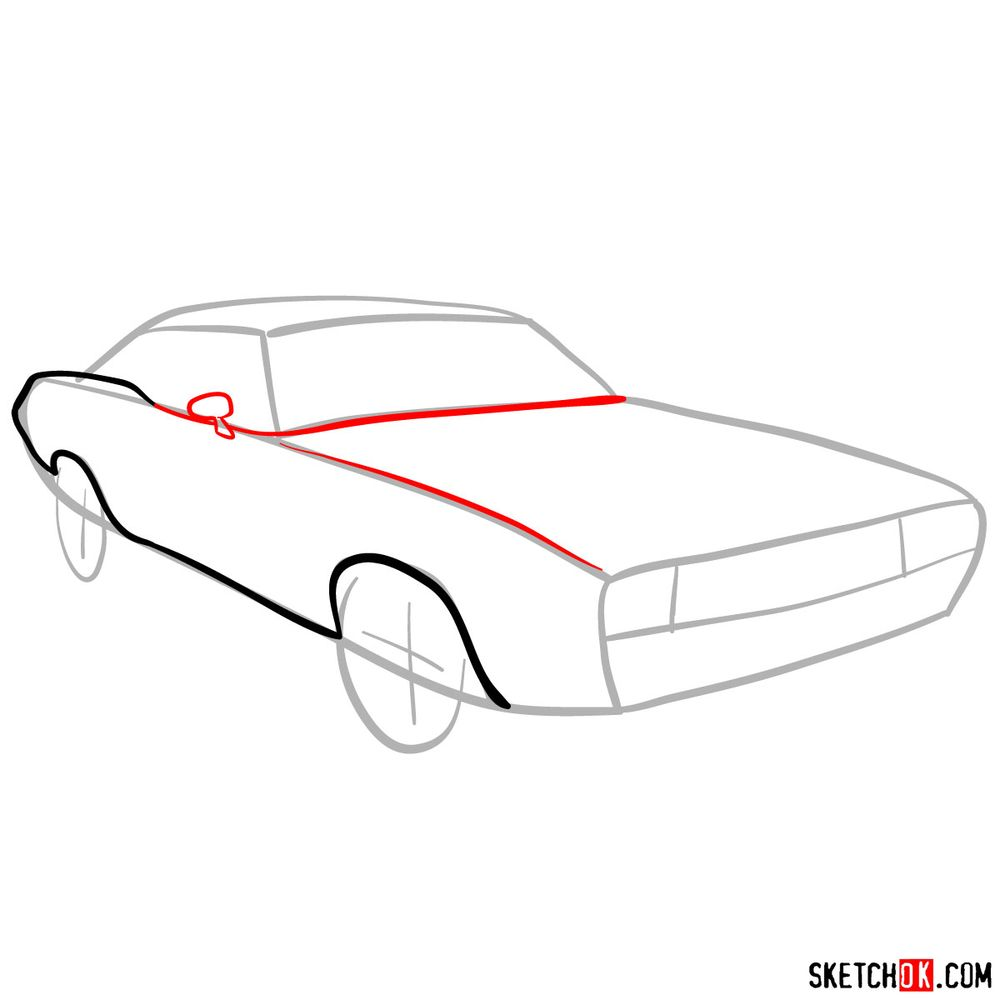 How to draw Dodge Challenger 1971 - step 04