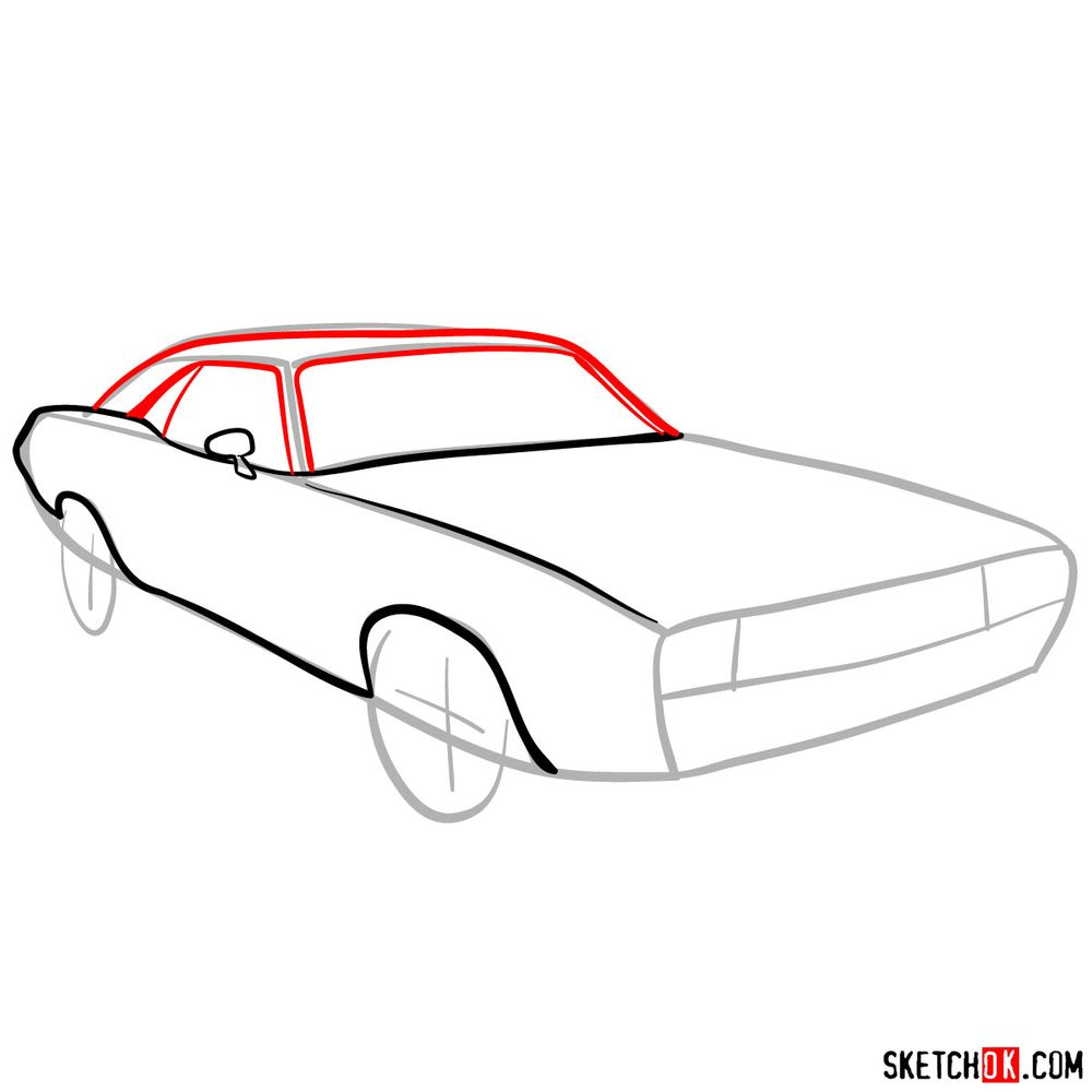 How to draw Dodge Challenger 1971 - step 05