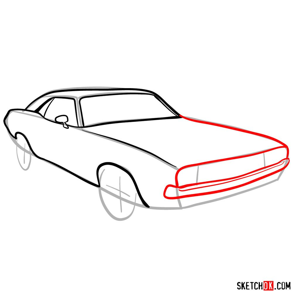 How to draw Dodge Challenger 1971 - step 06
