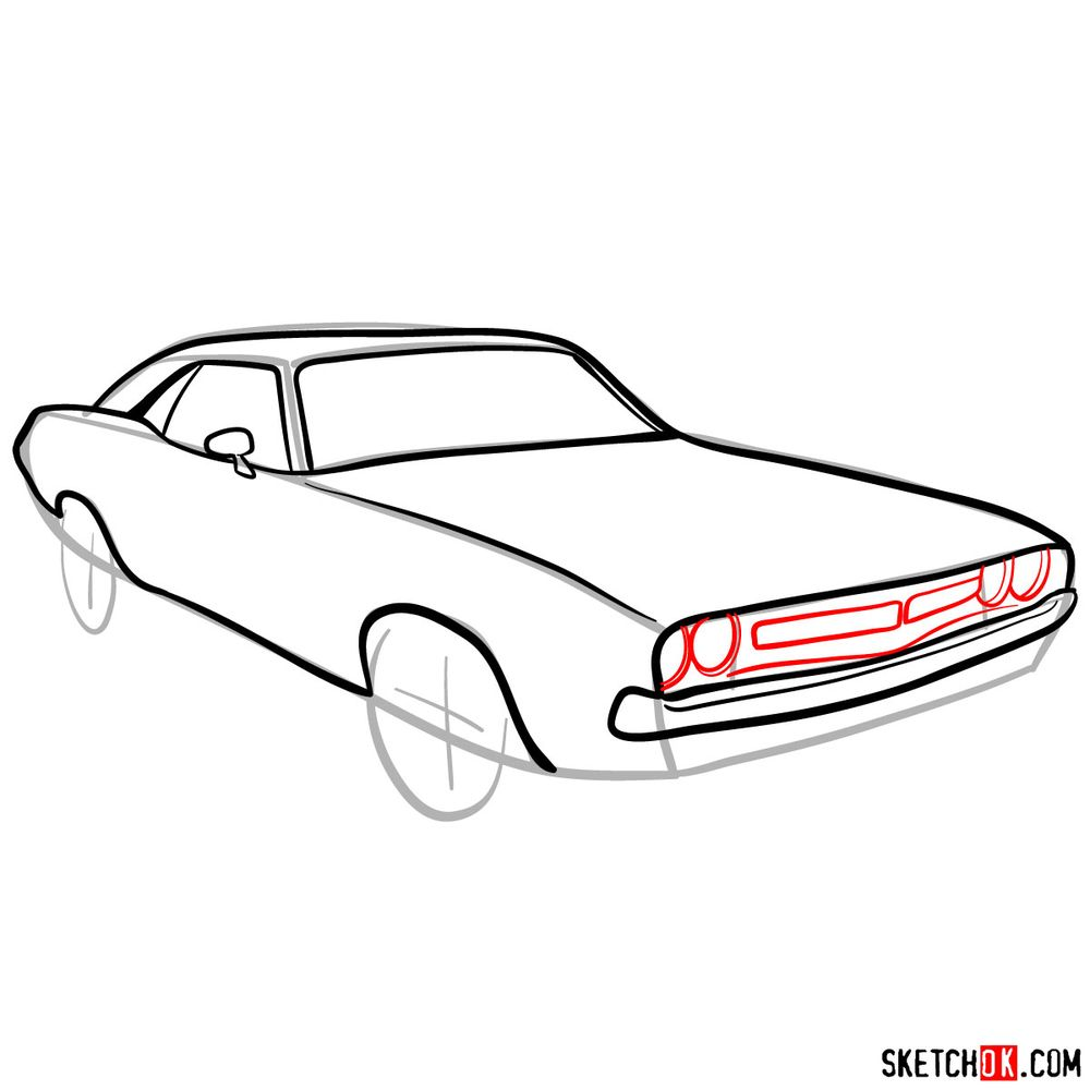 How to draw Dodge Challenger 1971 - step 07