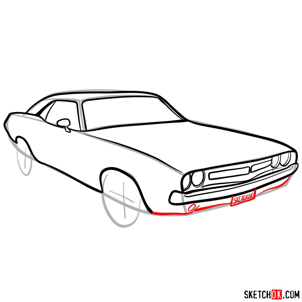 How to draw Dodge Challenger 1971 - step 08