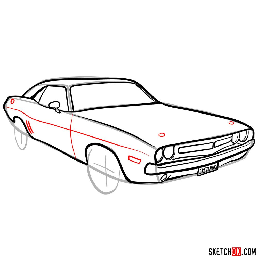How to draw Dodge Challenger 1971 - step 09