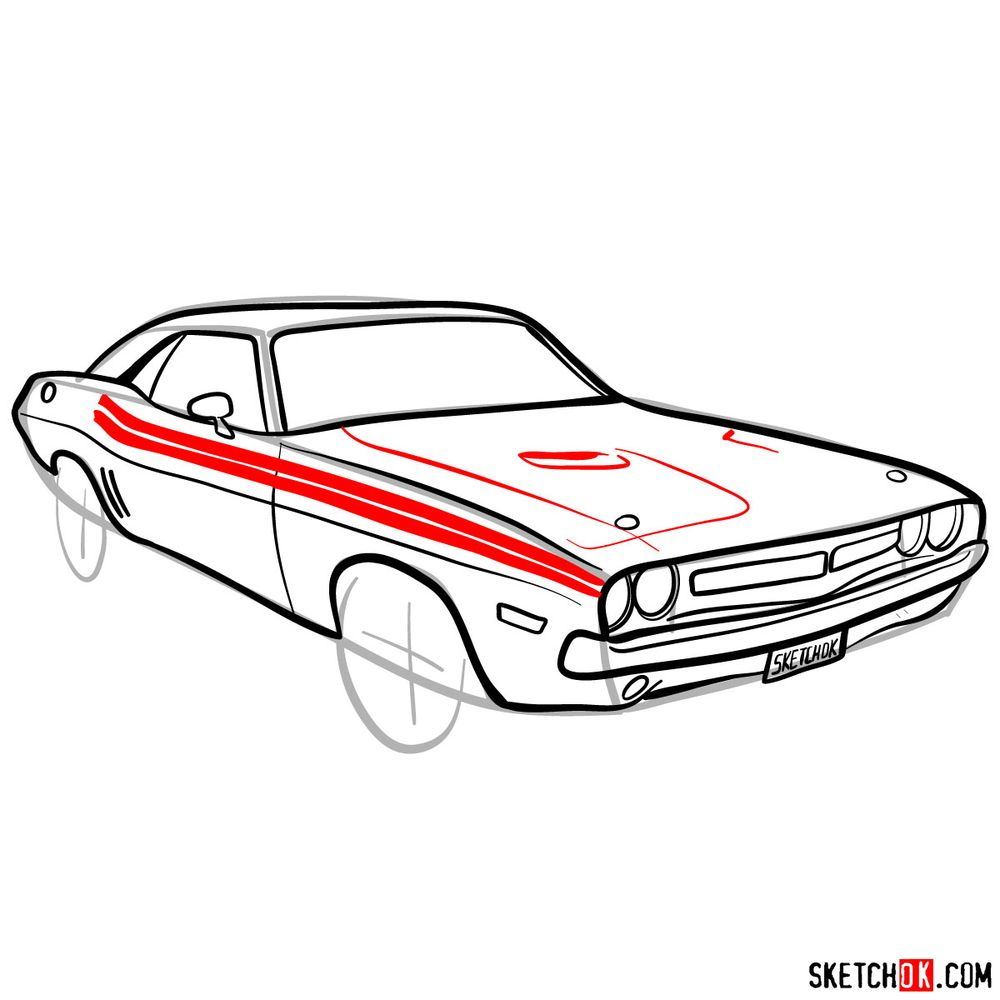 How to draw Dodge Challenger 1971 - step 10