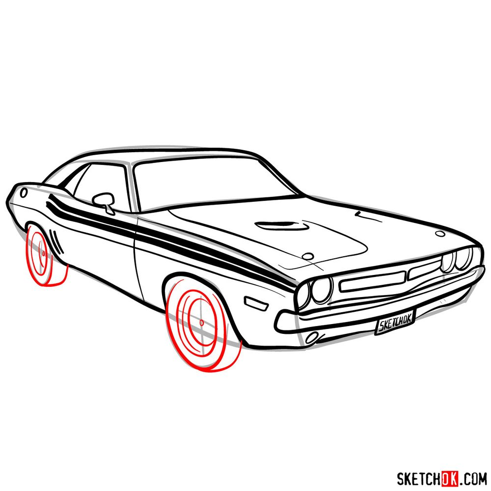 How to draw Dodge Challenger 1971 - step 11